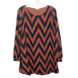 Everly Chevron Long Sleeve Shirt Dress